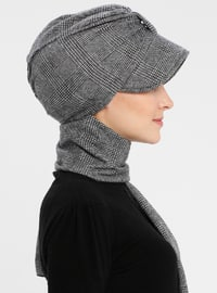 Gray - Printed - Instant Scarf