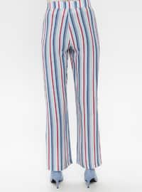 Blue - Navy Blue - Turquoise - Stripe - Pants
