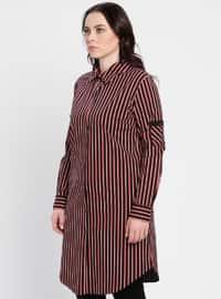 Maroon - Stripe - Point Collar - Plus Size Tunic