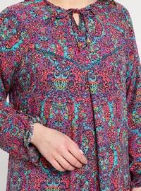 Pink - Fuchsia - Multi - Crew neck - Unlined - Viscose - Dress - BAGİZA