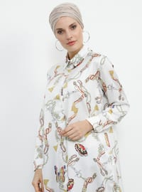 White - Ecru - Multi - Point Collar - Tunic