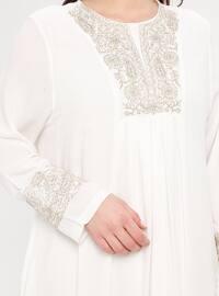 White - Ecru - Unlined - Crew neck - Plus Size Dress - BAGİZA