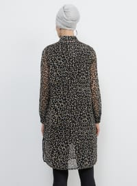 Black - Brown - Leopard - Point Collar - Tunic