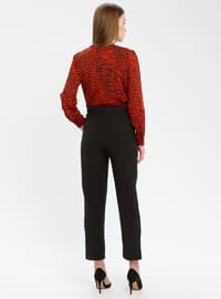 Red - Black - Leopard - Unlined - V neck Collar - Jumpsuit