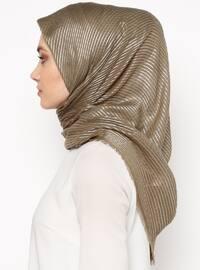 Khaki - Silver tone - Striped - Scarf