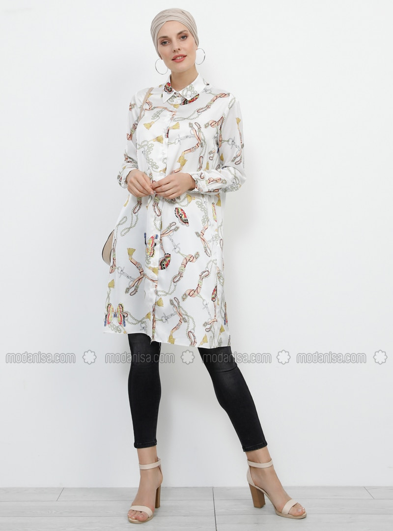 White - Ecru - Multi - Point Collar - Tunic
