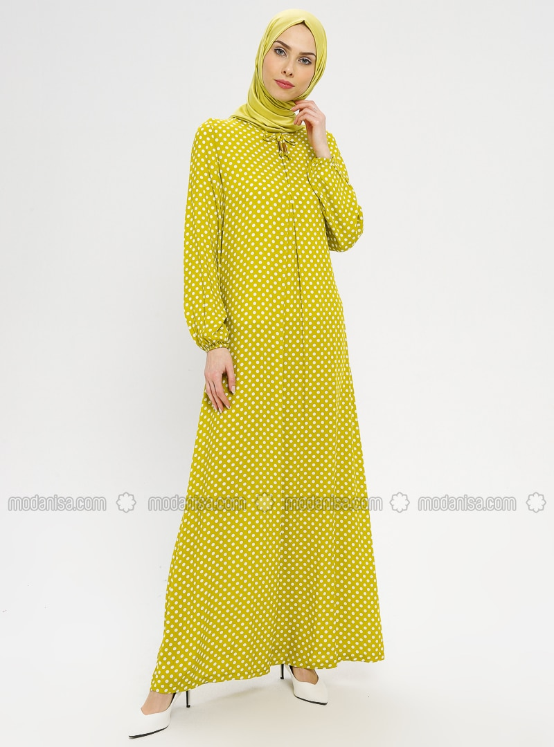 Green - Polka Dot - Crew neck - Unlined - Dress - BAGİZA