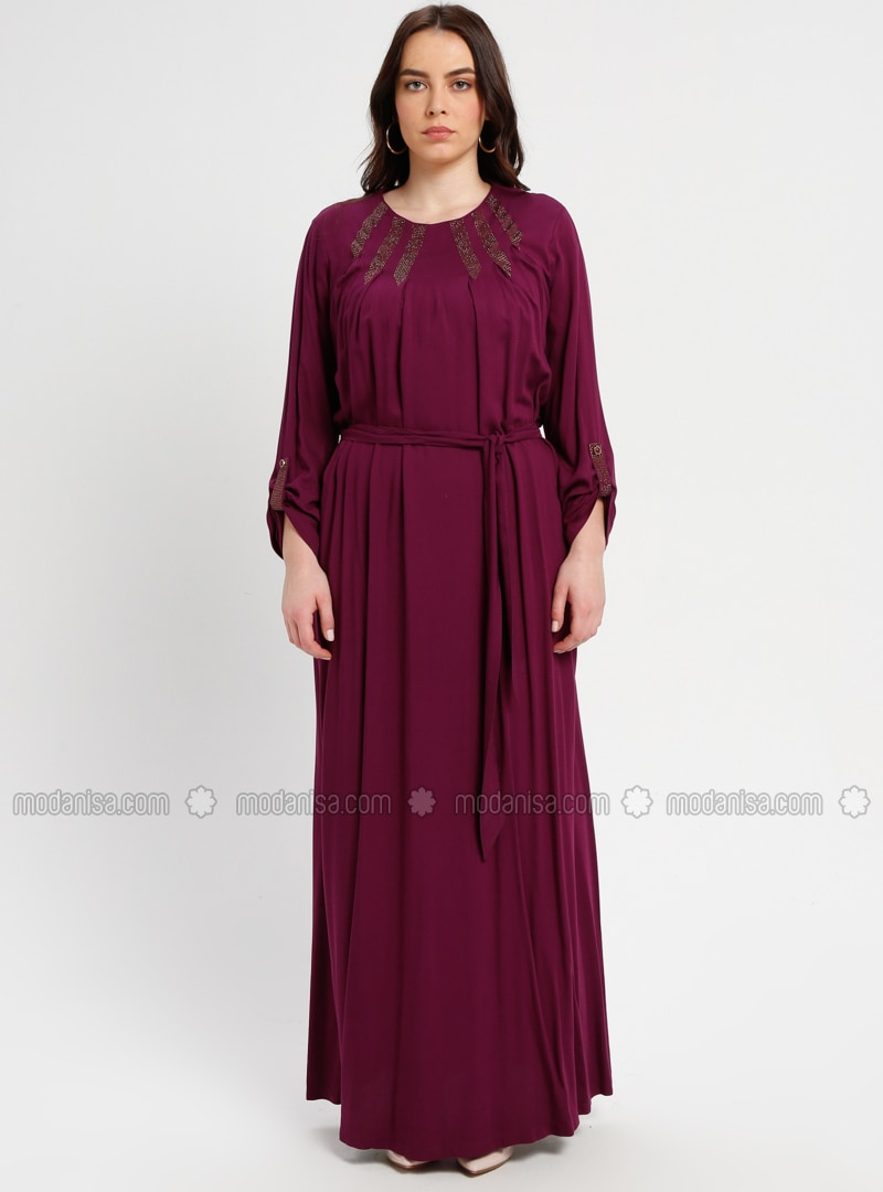 Plum - Unlined - Plus Size Dress - BAGİZA