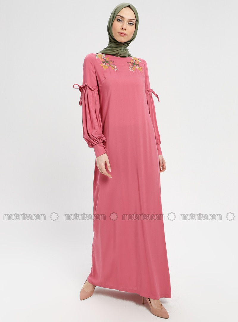 Dusty Rose - Crew neck - Unlined - Dress - BAGİZA