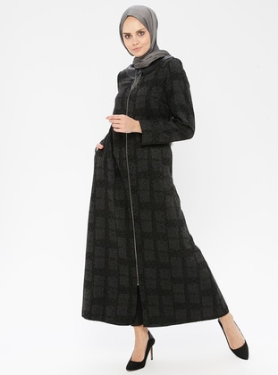 Anthracite - Checkered - Unlined - Crew neck - Coat