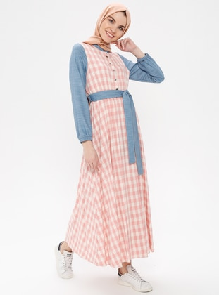 Powder - Checkered - Button Collar - Unlined - Cotton - Linen - Dress