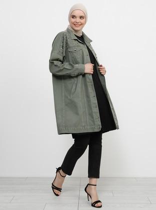 Khaki - Unlined - Point Collar - Cotton - Denim - Jacket - Refka