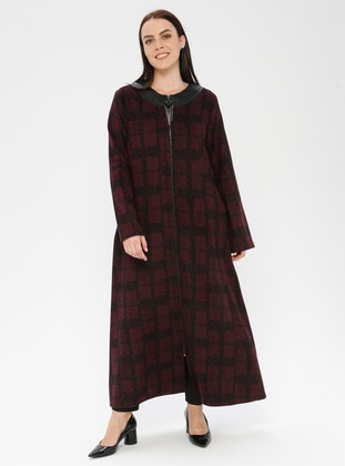 Black - Plum - Checkered - Unlined - Crew neck - Plus Size Coat - SOFMINA