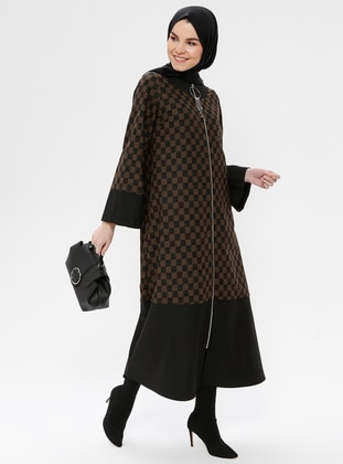 Black - Khaki - Checkered - Unlined - Crew neck - Coat