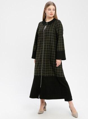 Black - Khaki - Houndstooth - Unlined - Crew neck - Plus Size Coat