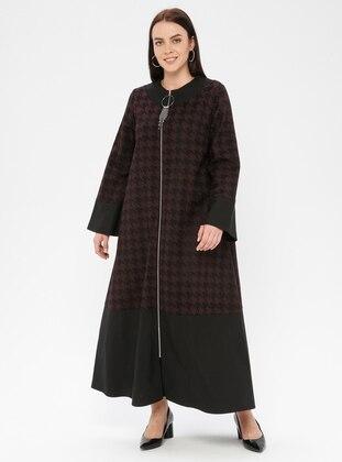 Black - Plum - Houndstooth - Unlined - Crew neck - Plus Size Coat
