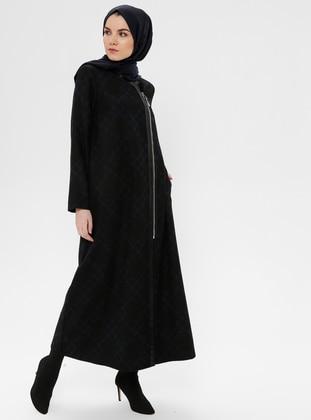 Black - Saxe - Multi - Unlined - Crew neck - Coat