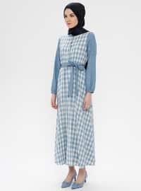 Blue - Checkered - Button Collar - Unlined - Cotton - Linen - Dress