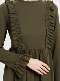 Khaki - Crew neck - Unlined - Dress - ZENANE