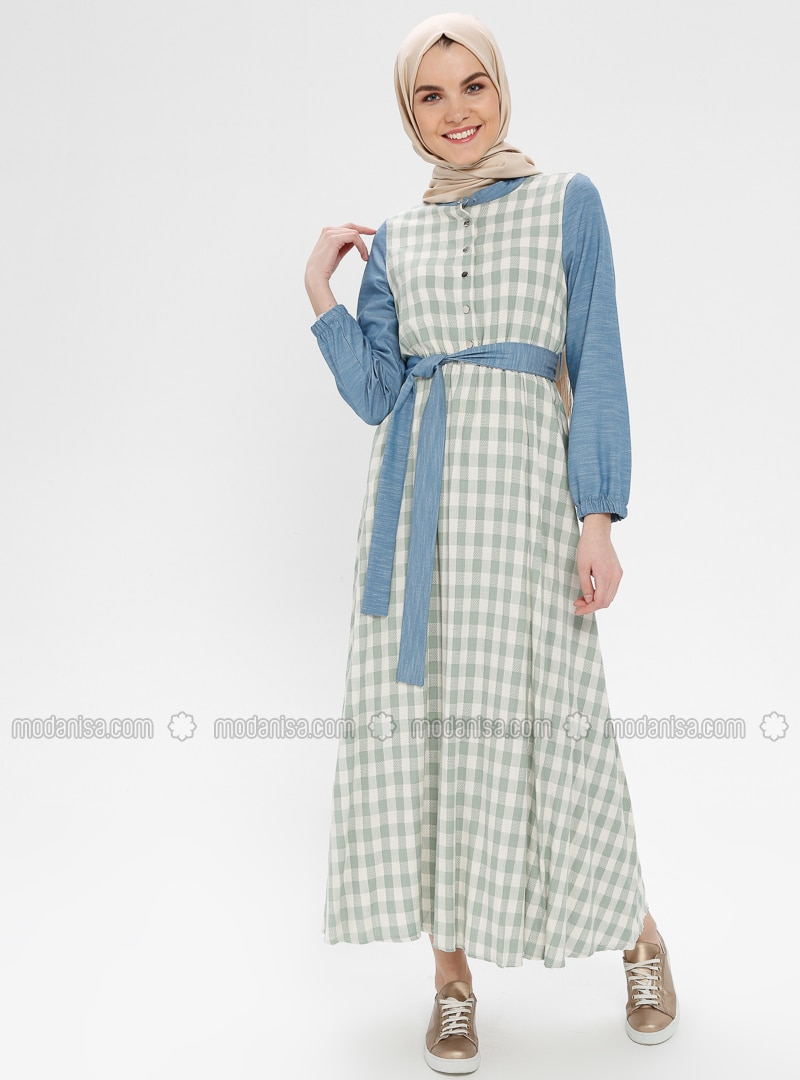 Green Almond - Checkered - Button Collar - Unlined - Cotton - Linen - Dress