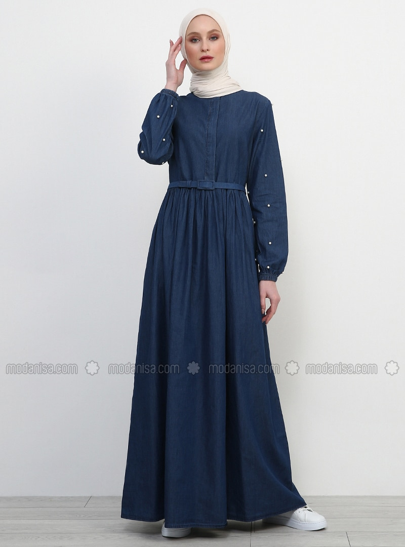 Blue - Point Collar - Unlined - Cotton - Denim - Dress