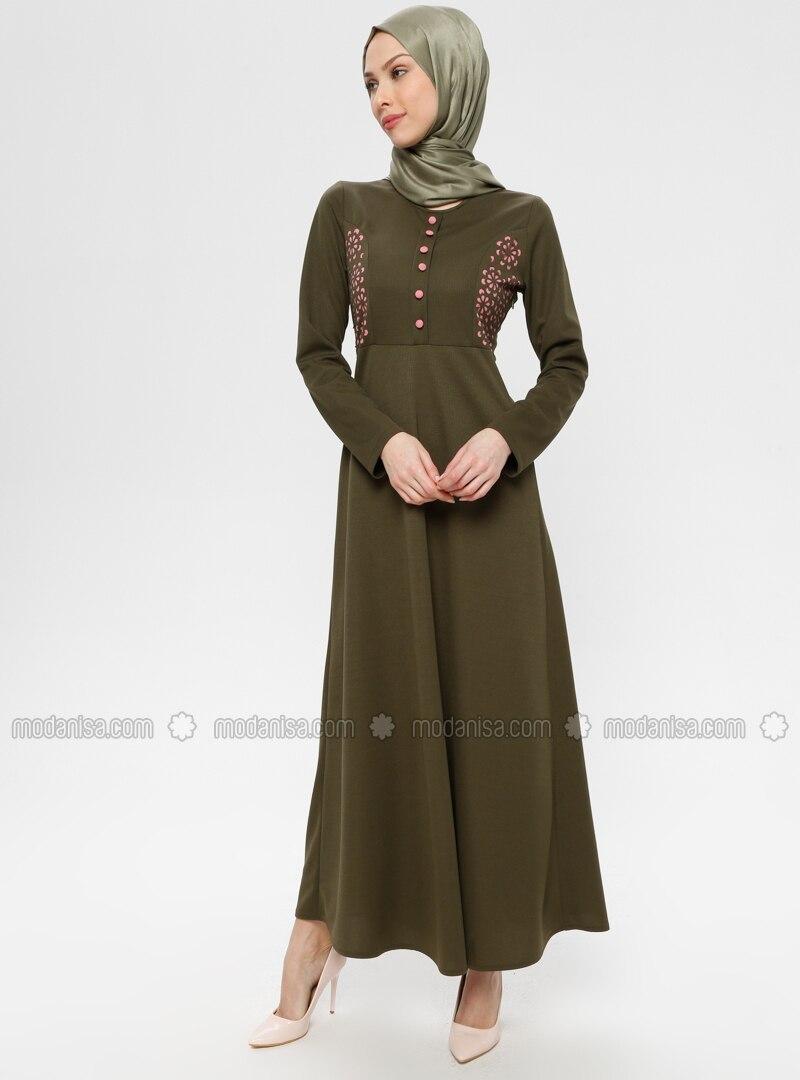 Khaki - Crew neck - Unlined - Dress - ZENANE
