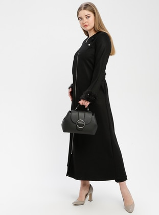 Black - Unlined - Wool Blend - Crew neck - Plus Size Coat - SOFMINA