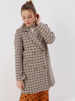 Multi - Camel - Houndstooth - Fully Lined - Shawl Collar - Coat