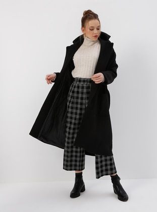 Black - Fully Lined - Shawl Collar - Coat - Kaktüs