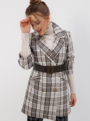 Minc - Houndstooth - Fully Lined - Shawl Collar - Coat
