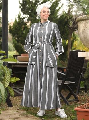 Black - Stripe - Point Collar - Dresses