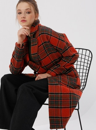 Terra Cotta - Checkered - Fully Lined - Shawl Collar - Coat