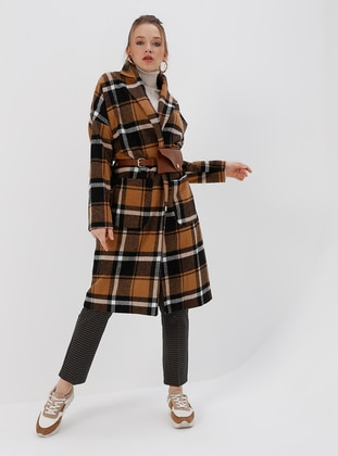 Multi - Camel - Checkered - Fully Lined - Shawl Collar - Coat