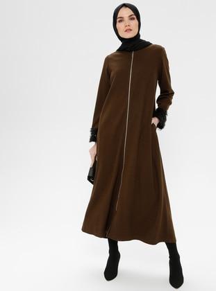 Khaki - Unlined - Crew neck - Coat