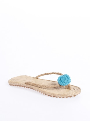 Beige - Turquoise - Sandal - Slippers - Gio & Mi