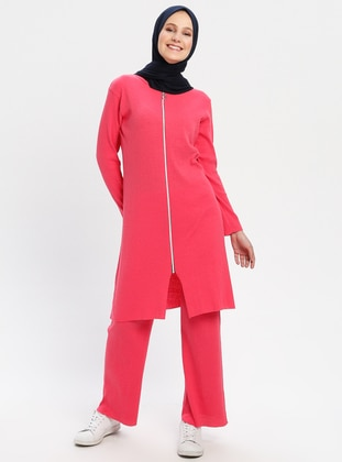 Pink - Fuchsia - Unlined - Cotton - Suit