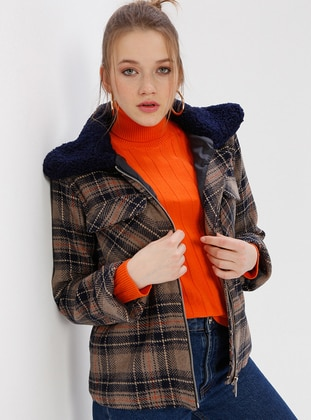 Navy Blue - Multi - Checkered - Fully Lined - Polo - Coat