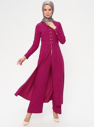 89e95ec8f1b8 Purple - Unlined - Crew neck - Jumpsuit