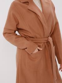 Camel - Fully Lined - Shawl Collar - Coat