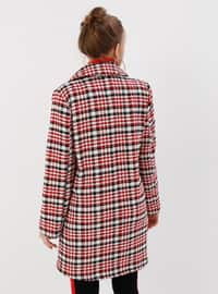 Red - Houndstooth - Fully Lined - Shawl Collar - Coat