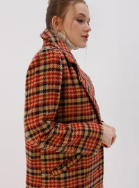 Multi - Tan - Houndstooth - Fully Lined - Shawl Collar - Coat