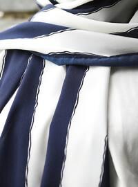 White - Navy Blue - Geometric - Shawl