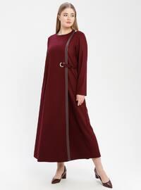 Maroon - Crew neck - Unlined - Plus Size Abaya