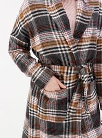 Multi - Checkered - Fully Lined - Shawl Collar - Coat