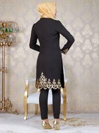 Khaki - Unlined - Crew neck - Muslim Evening Dress
