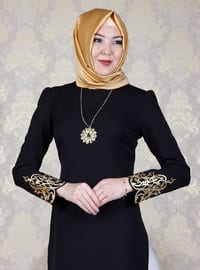 Black - Unlined - Crew neck - Muslim Evening Dress