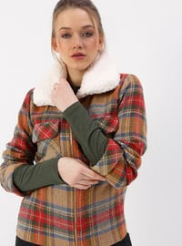 Camel - Checkered - Fully Lined - Polo - Coat