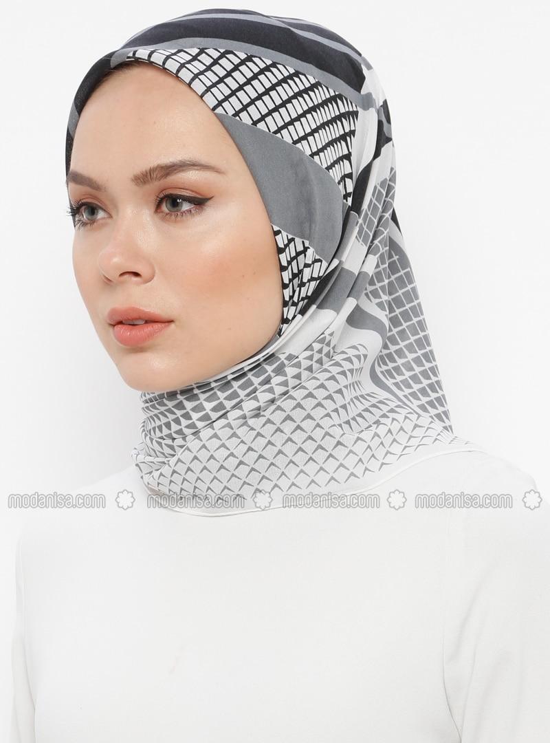 Ecru - Black - Printed - Scarf