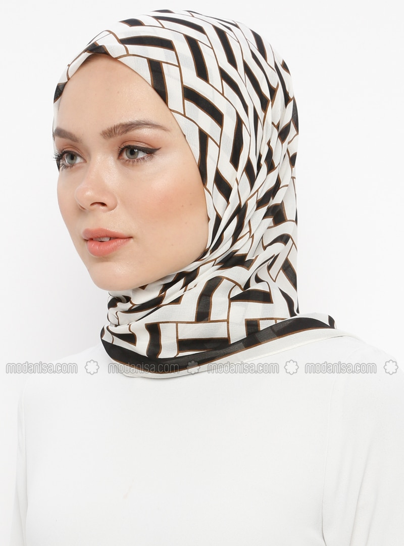 Navy Blue - Cream - Printed - Scarf