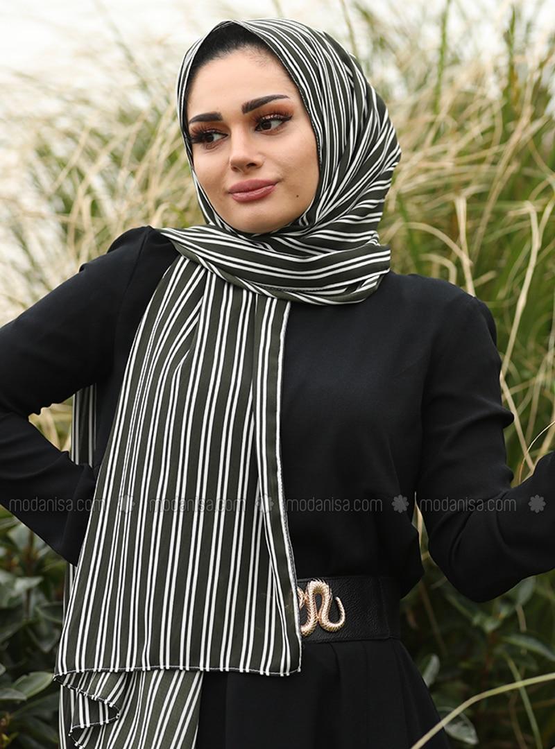 Khaki - Striped - Shawl
